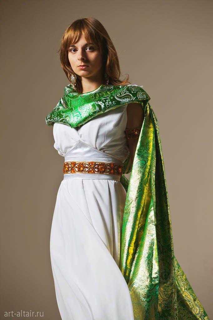 накидка греческийстиль платье шифон парча-жаккард белоеплатье атлас