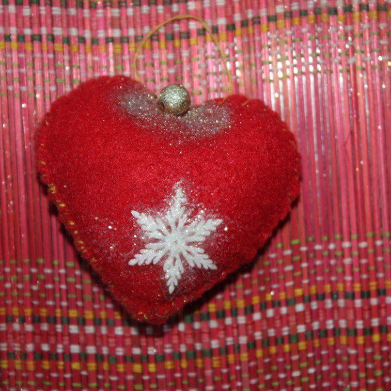 снежинка сердечко фетр