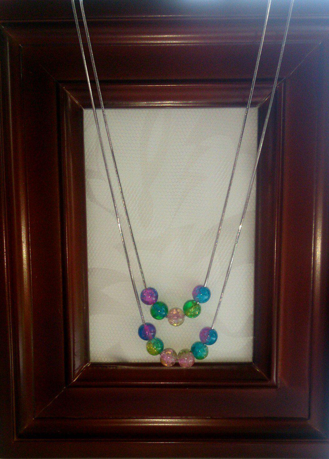 колье ручнаяработа подарок серьги разноцветноестекло кракле стеклянныебусины цепочки гиппоалергенные