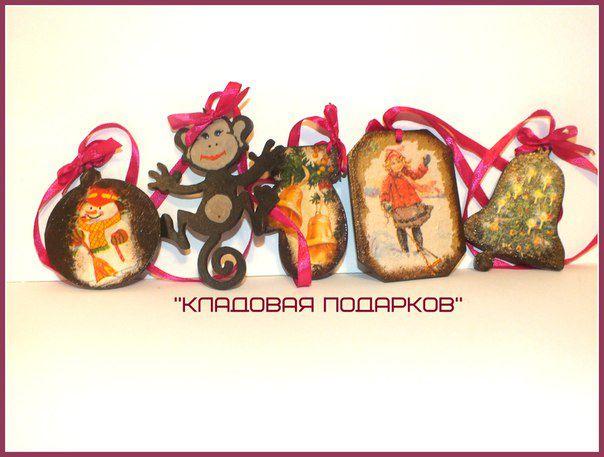 елочные деревянные 2016 игрушки украшения декупаж новый подарки елка обезьяна год