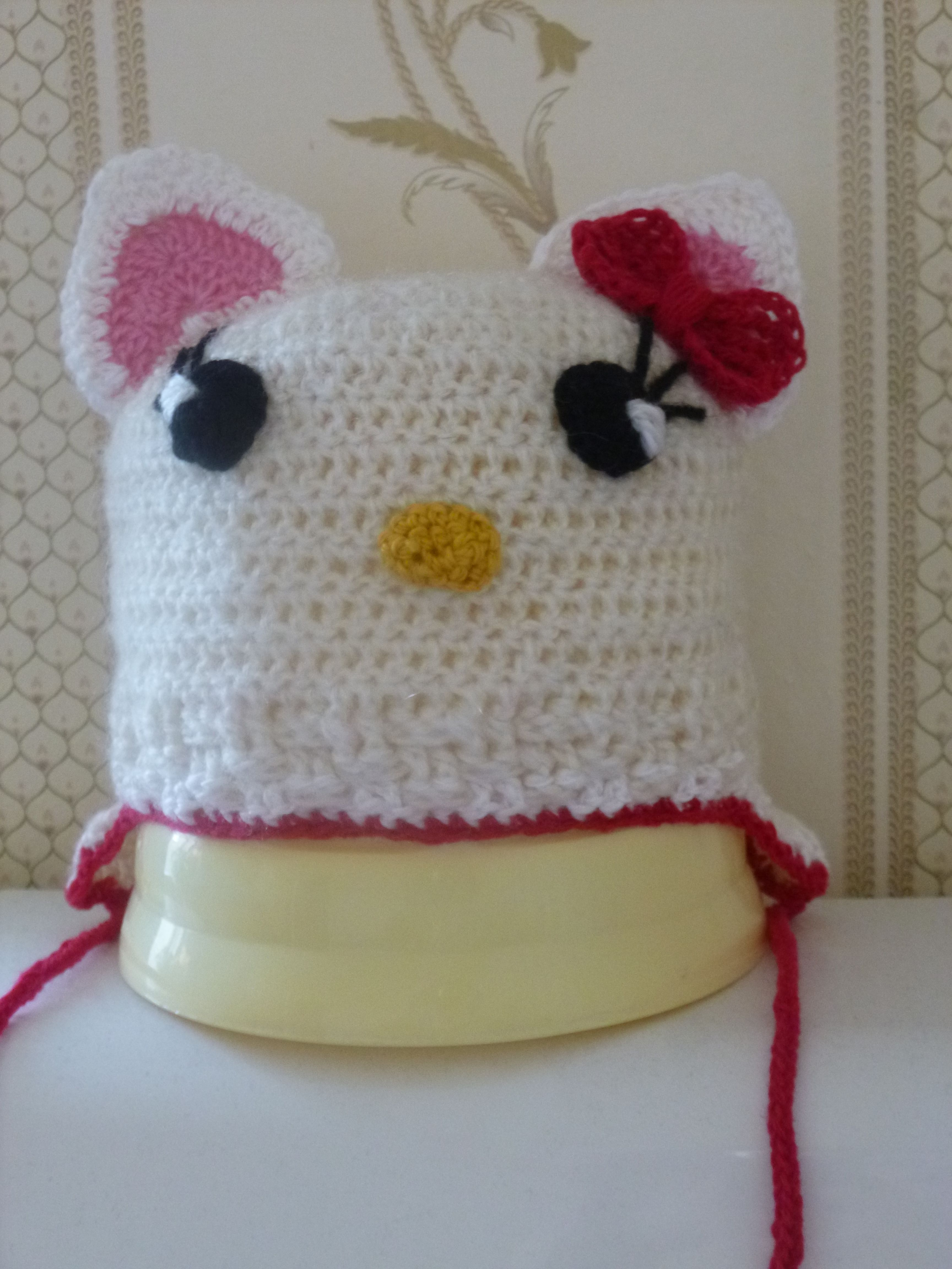 вязаная детская шапочка весенняя осенняя крючком шерсть демисезонная шапочкаhellokitty hello kitty зимняя акрил