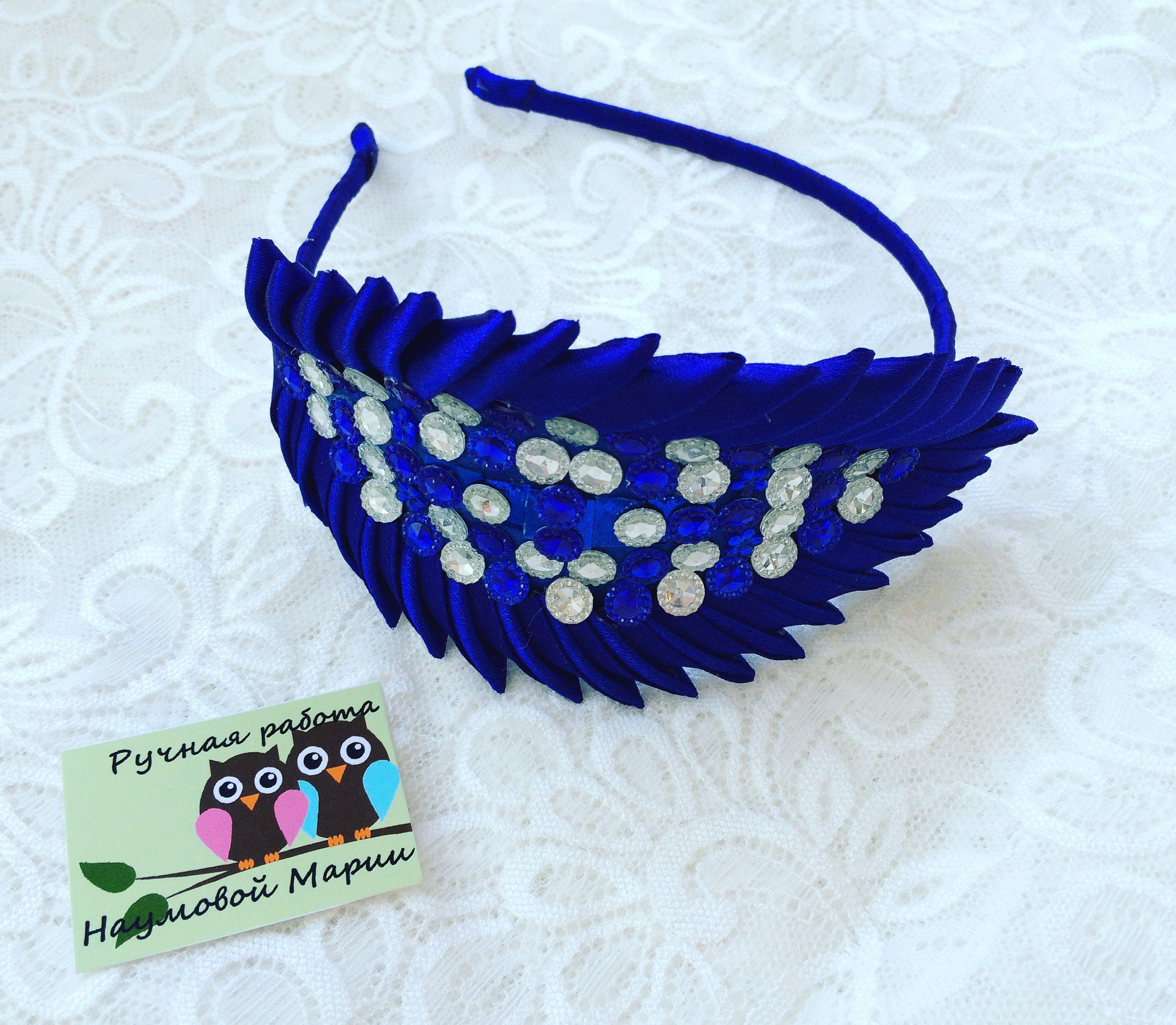 синий ободок канзаши украшения аксессуары праздник