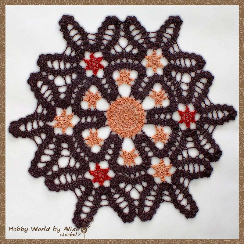 100 мотив брюггское хлопок салфетка вязание кружево коричневый крючком