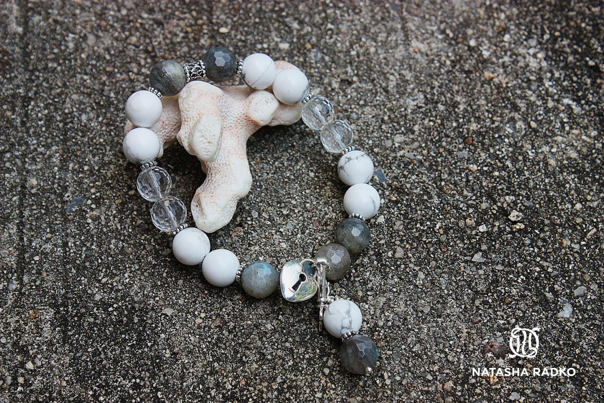 подарок браслет украшение хрусталь горный ахолонг камни лабрадор натуральные