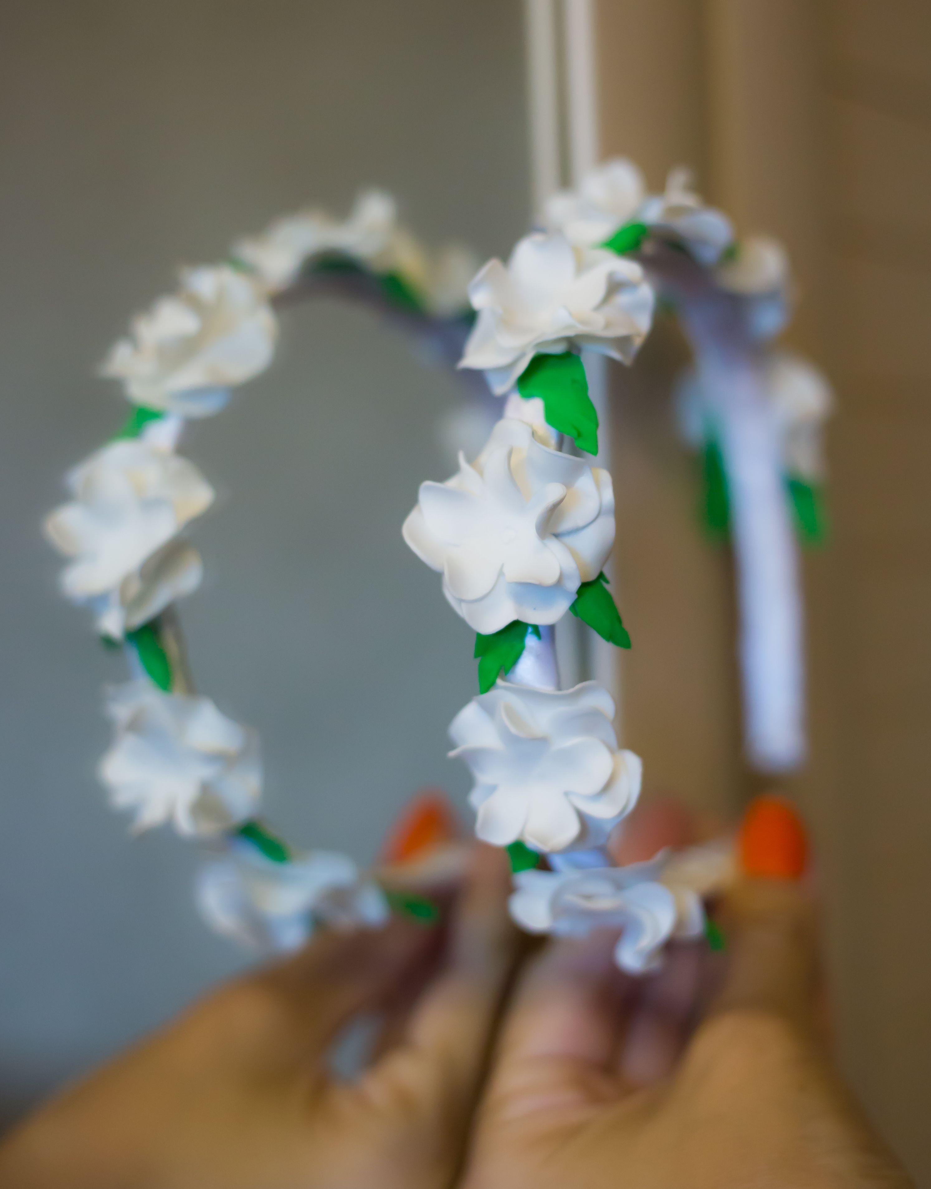 красивый ободок атлас обруч фоамиран детский белый цветы