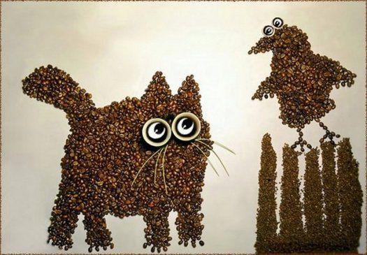 Картины из кофейных зерен 4