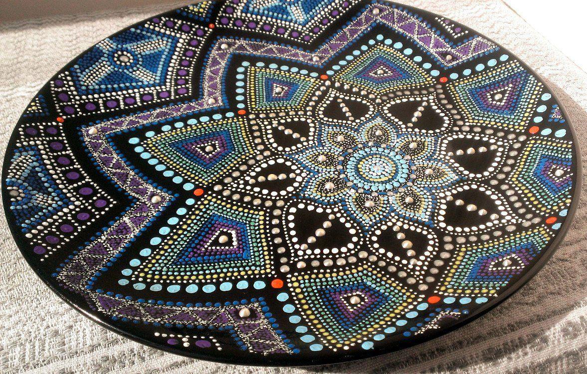зимниеузоры узоры декоративнаятарелка восточныеузоры тарелка точечнаяроспись handmade декор ручнаяработа зима подарок
