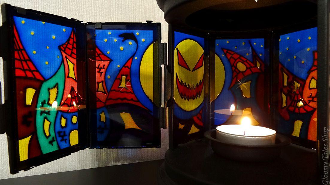ручнаяработа подарок город декор луна хэллоуин фонарик витражныйлак handmade сказка подсвечник хеллоуин витраж