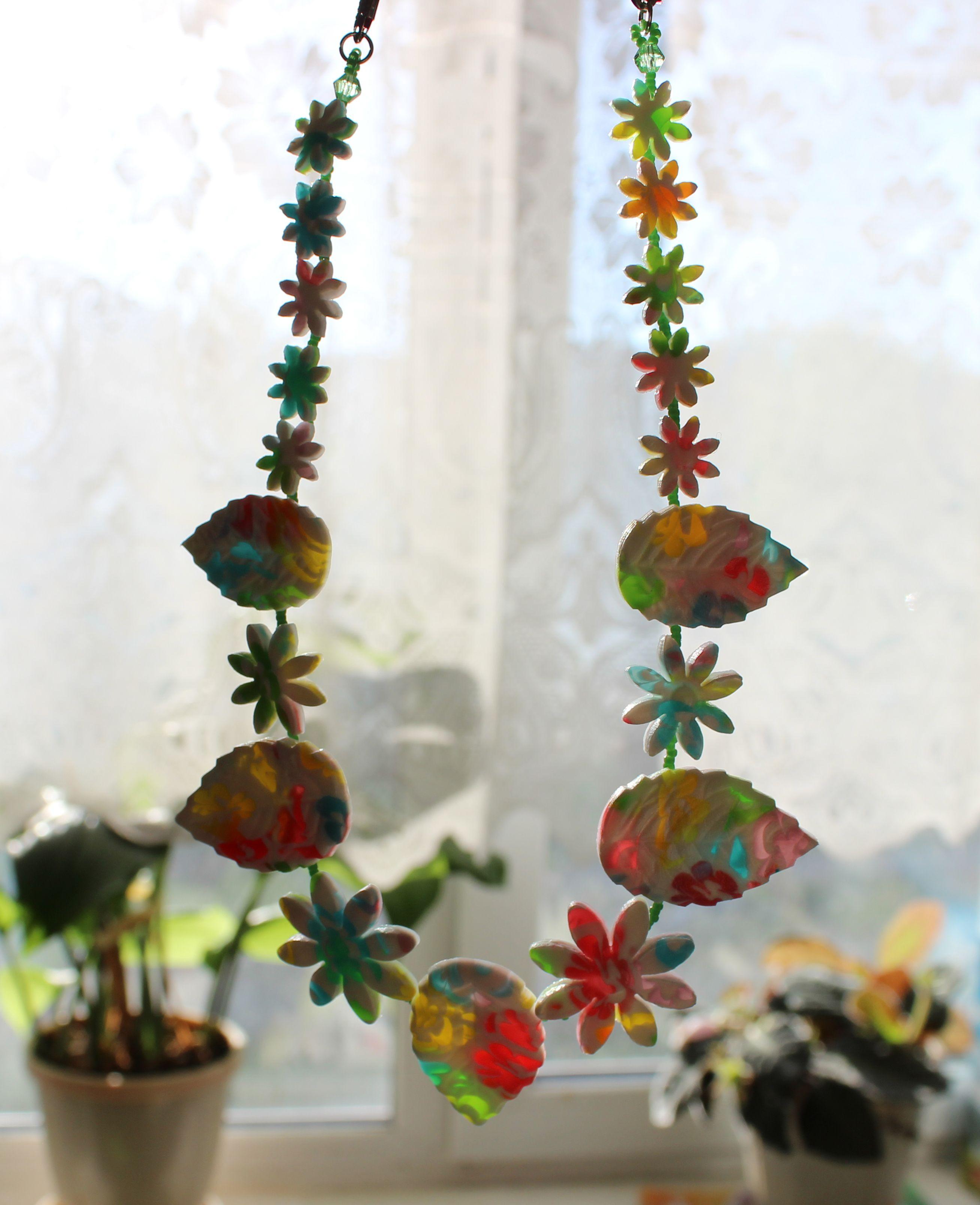 колье глина разноцветные бусы ожерелье яркие украшения прозрачные бижутерия