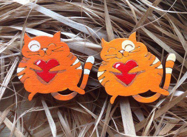 брошка деревяннаяброшь значок fashionwood деревянныйкот кот