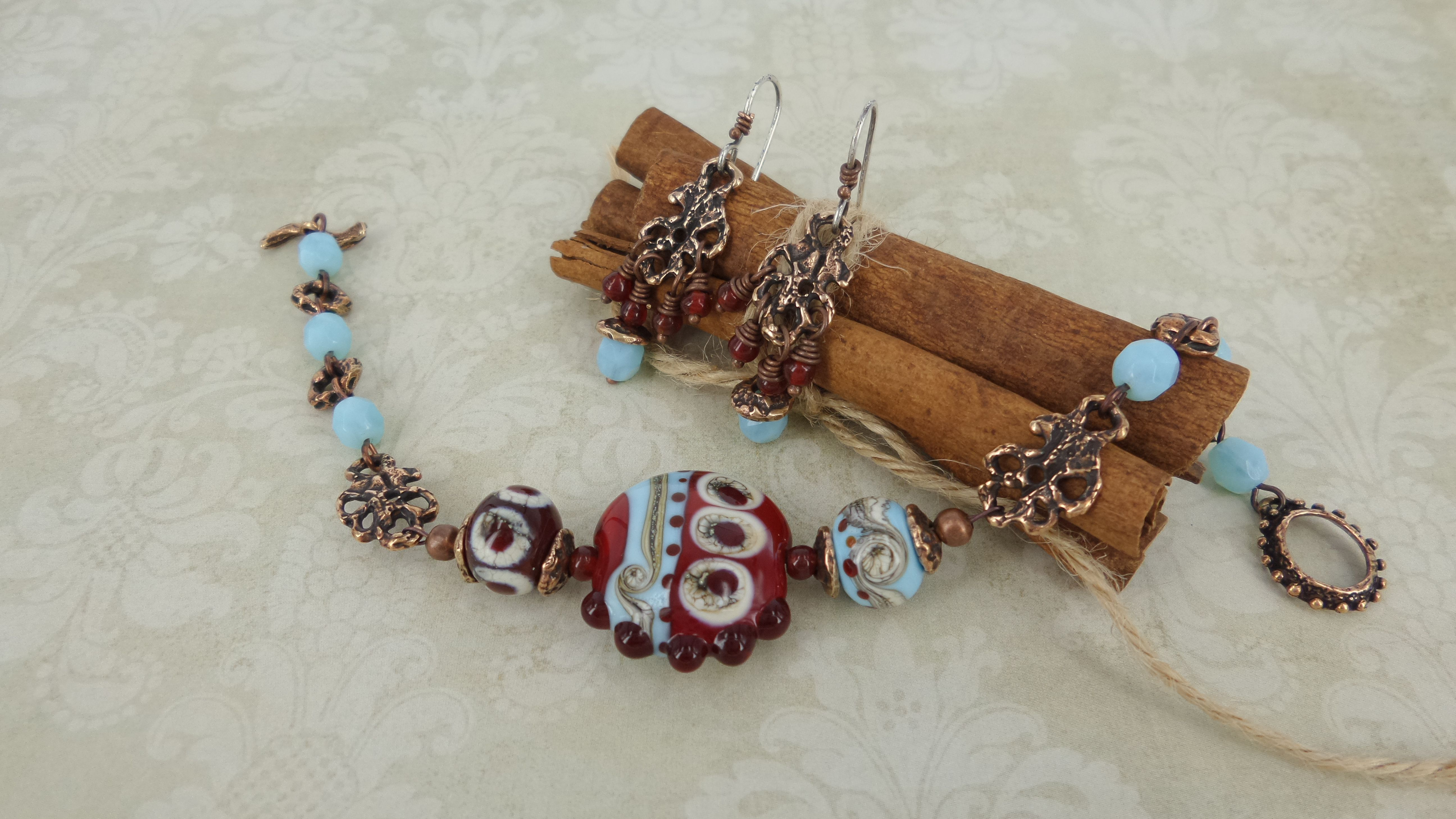 стеклянные медная фурнитурасеребрянные швензы фурнитура бусины женщине серьги браслет авторская рождения день комплект лэмпворк на подарок