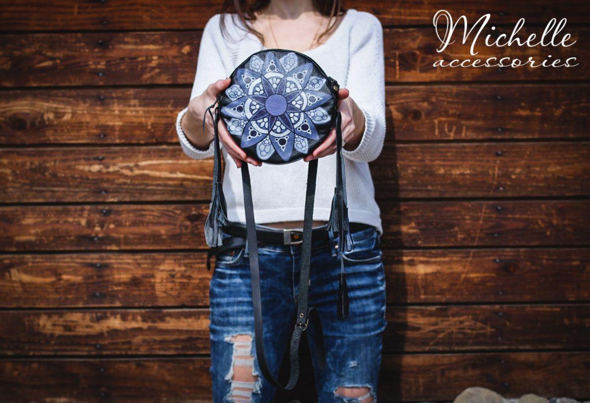 кожаная ручнаяроспись купитьподарок кожанаясумка купитьсумку круглая сумка ручная авторская купить женская роспись бохо кожа подарок