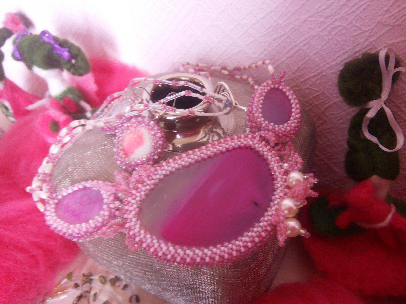 ручнаяработа атуральныйагат розовоеожерелье розовоеукрашение розовыйвечер