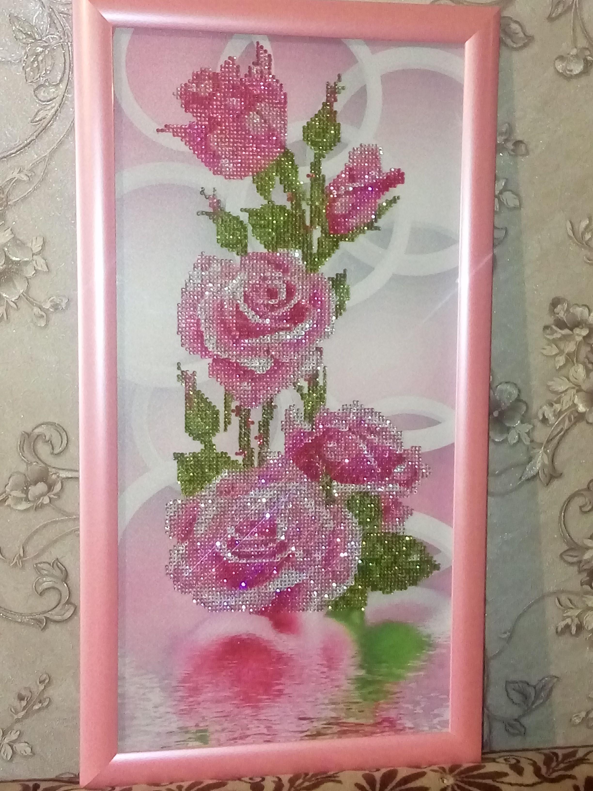 пано розы для_дома стразы картина подарок