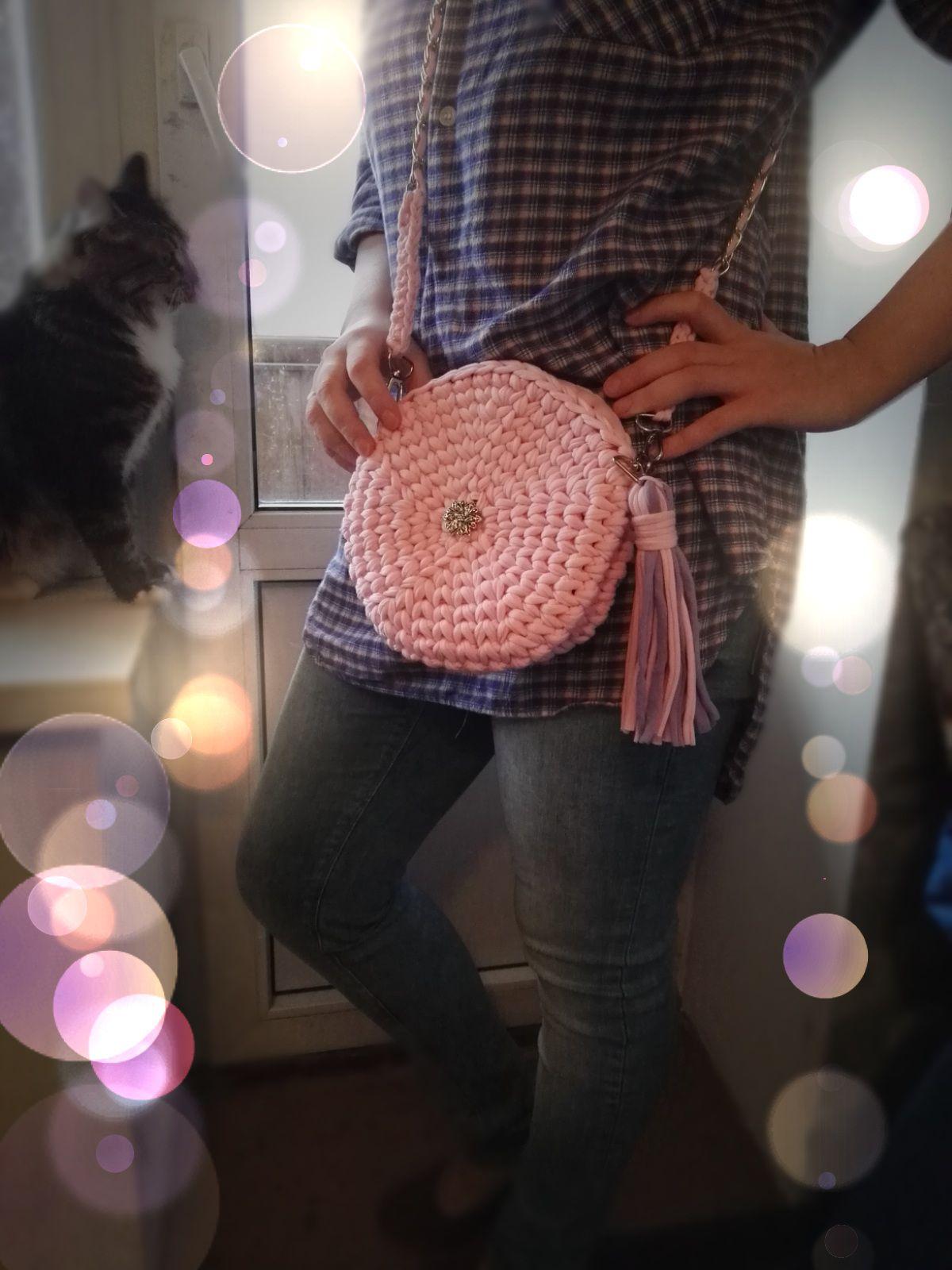 круглая розовый сумка трикотажная клатч пряжа