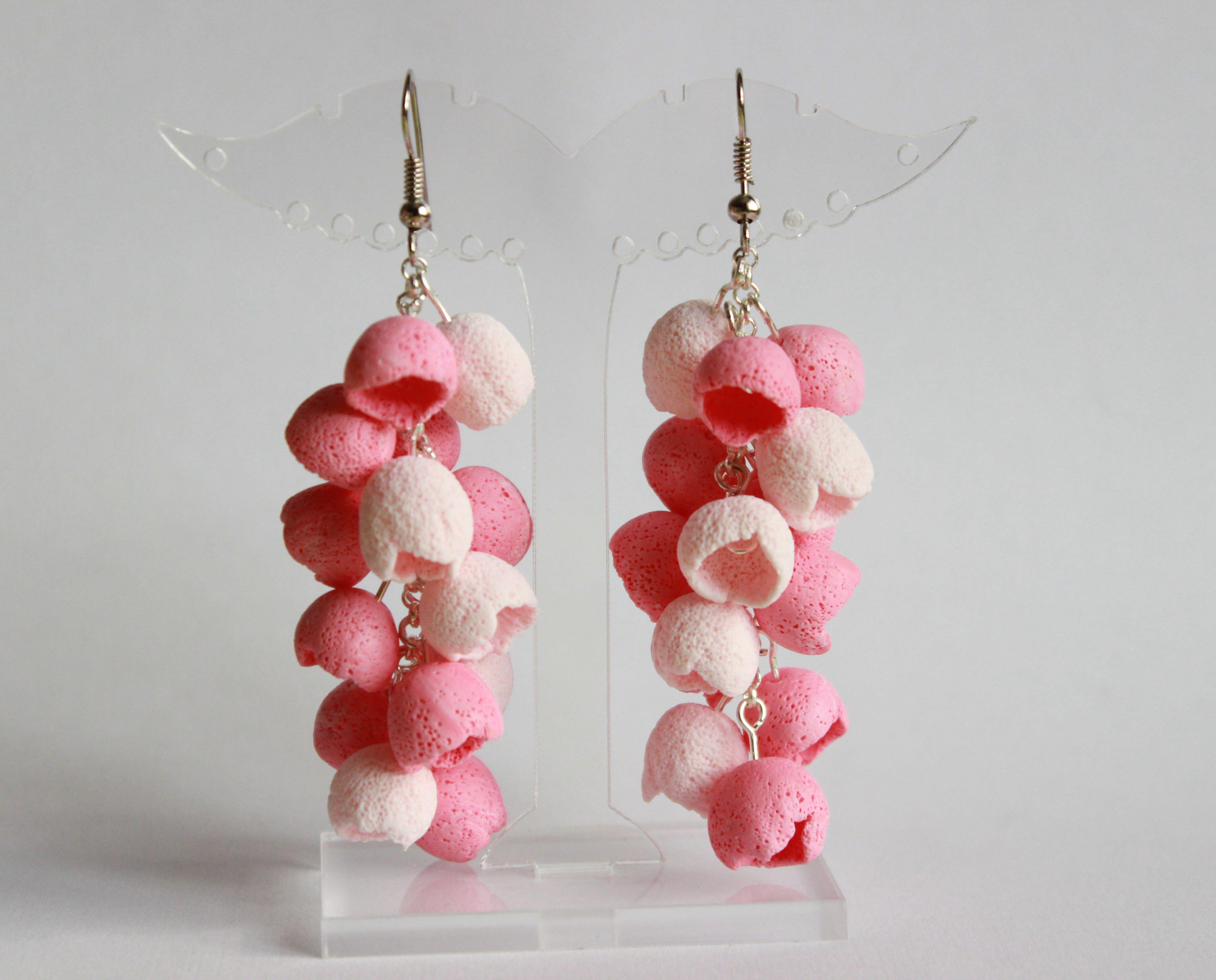 полимерная глина романтичные серьги работа шапочки ручная длинные нежные бутоны летние розовые украшения колокольчики бижутерия