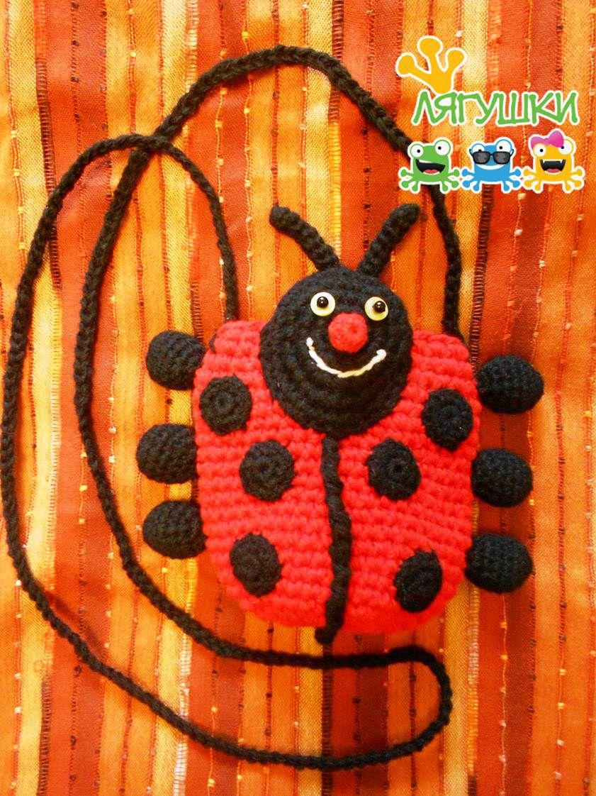 вязанаясумка футлярдлясмартфона smartphonebag ladybug весёлыйжук трилягушки божьякоровка crochet