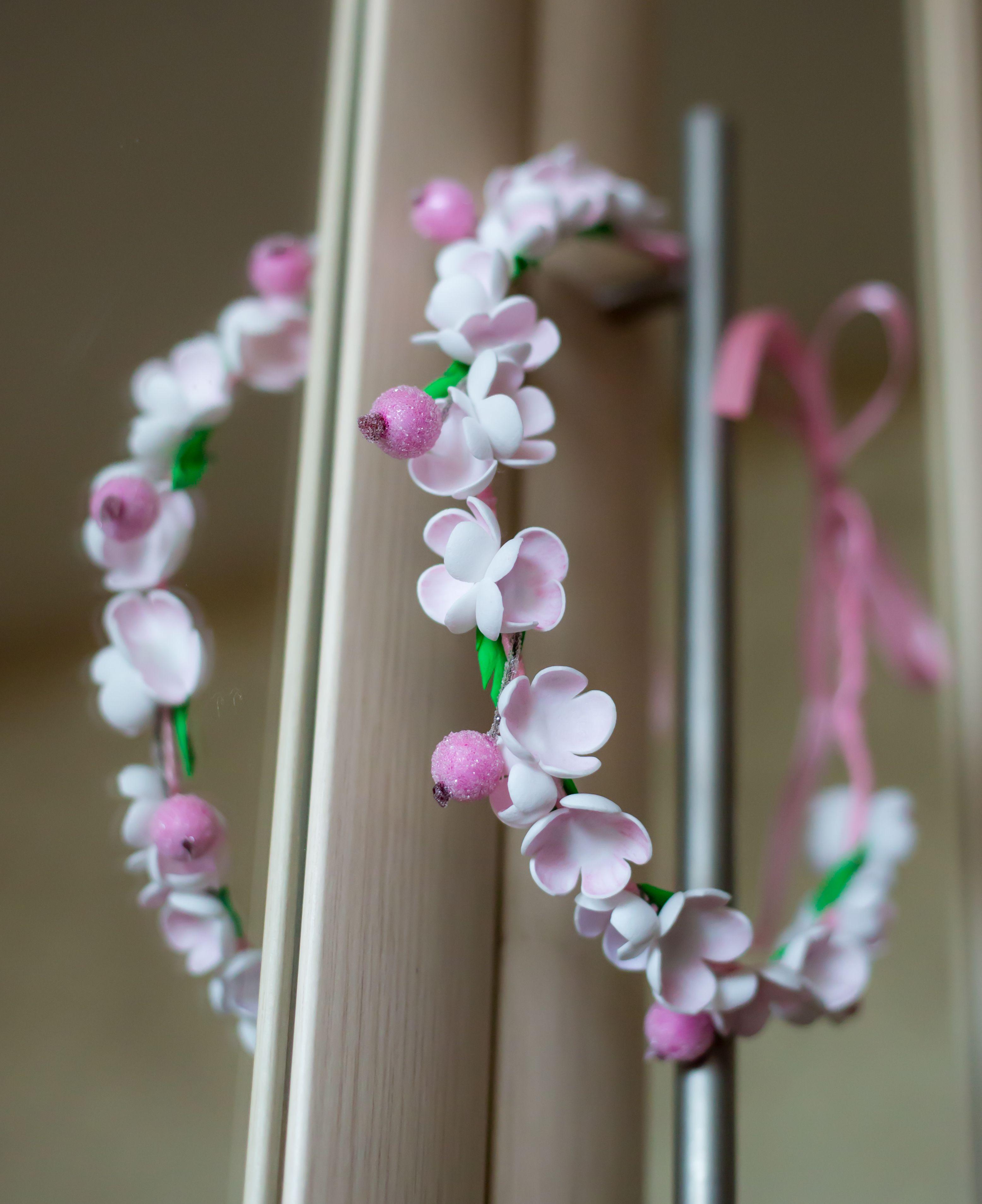 красивый свадебный нежный розовый ягодки атлас фоамиран цветы венок