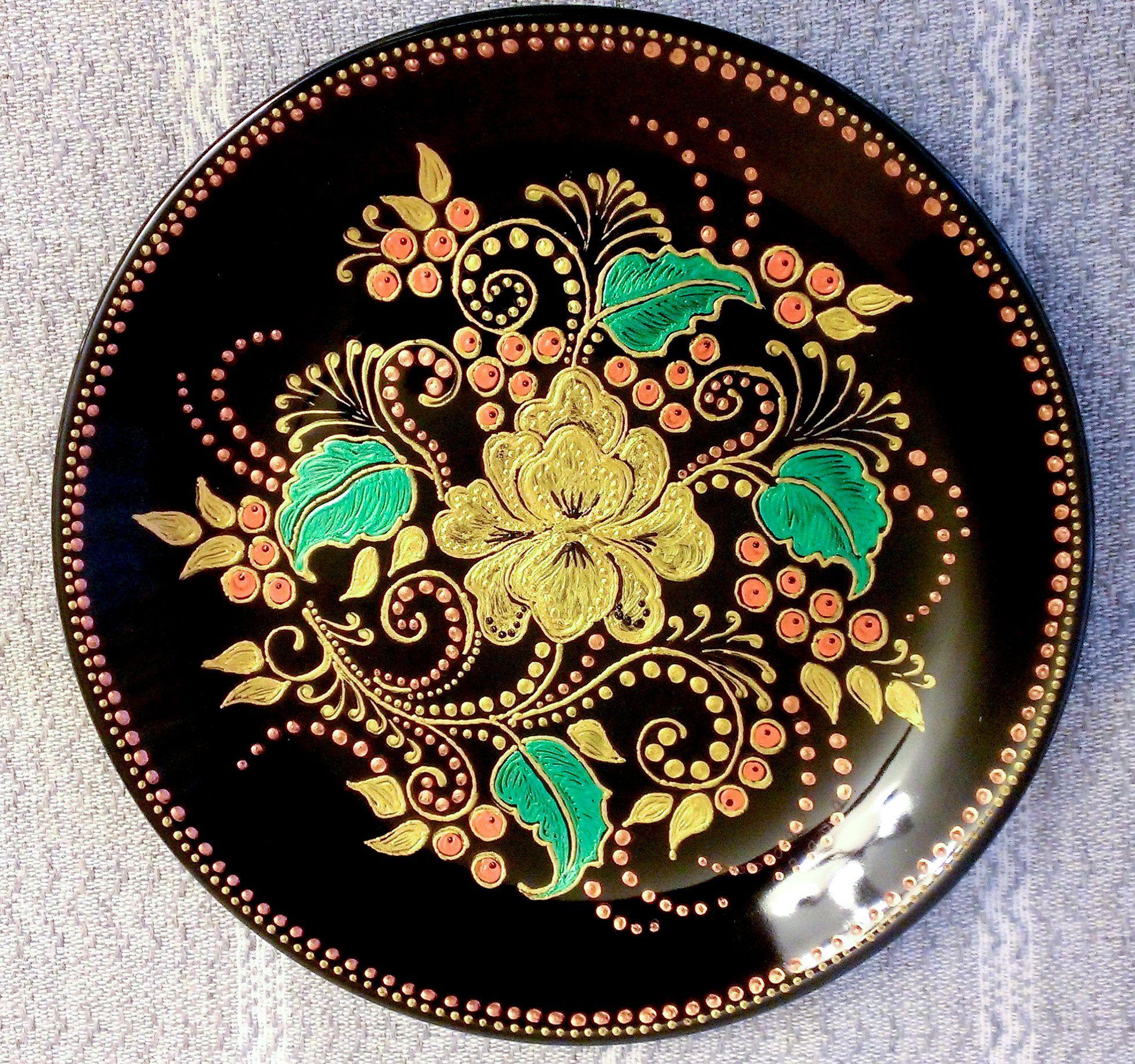 рябинушка русскиеузоры узоры декоративнаятарелка тарелка точечнаяроспись handmade декор ручнаяработа хохлома подарок