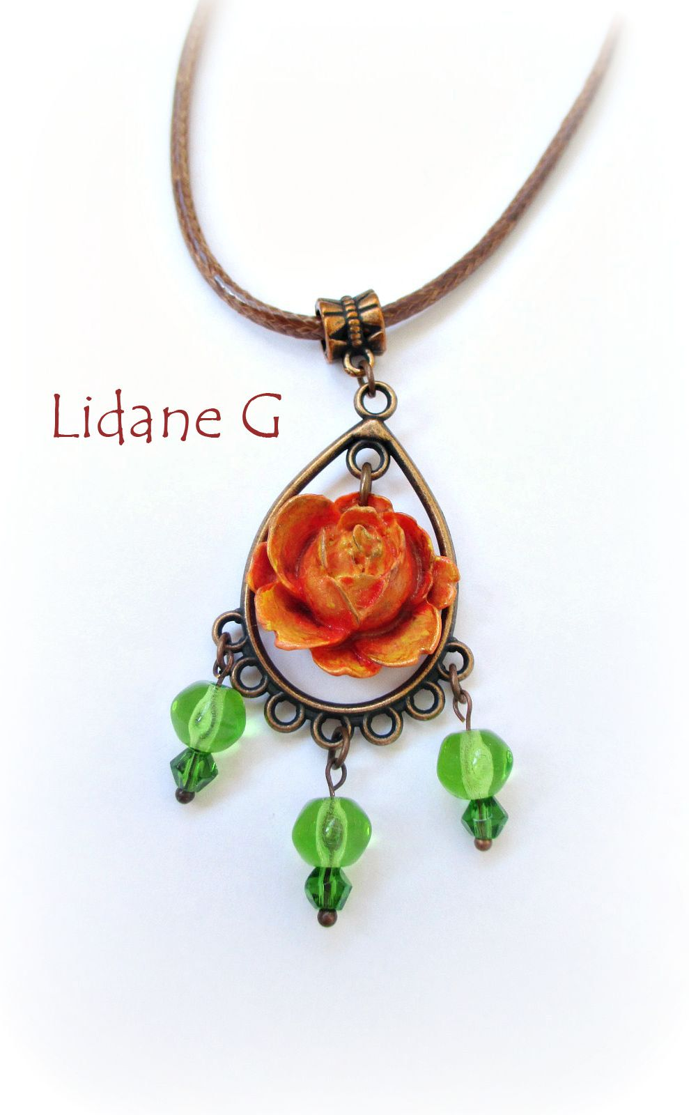 романтичный зеленый кулон красный роза украшения цветы оранжевый полимернаяглина бижутерия