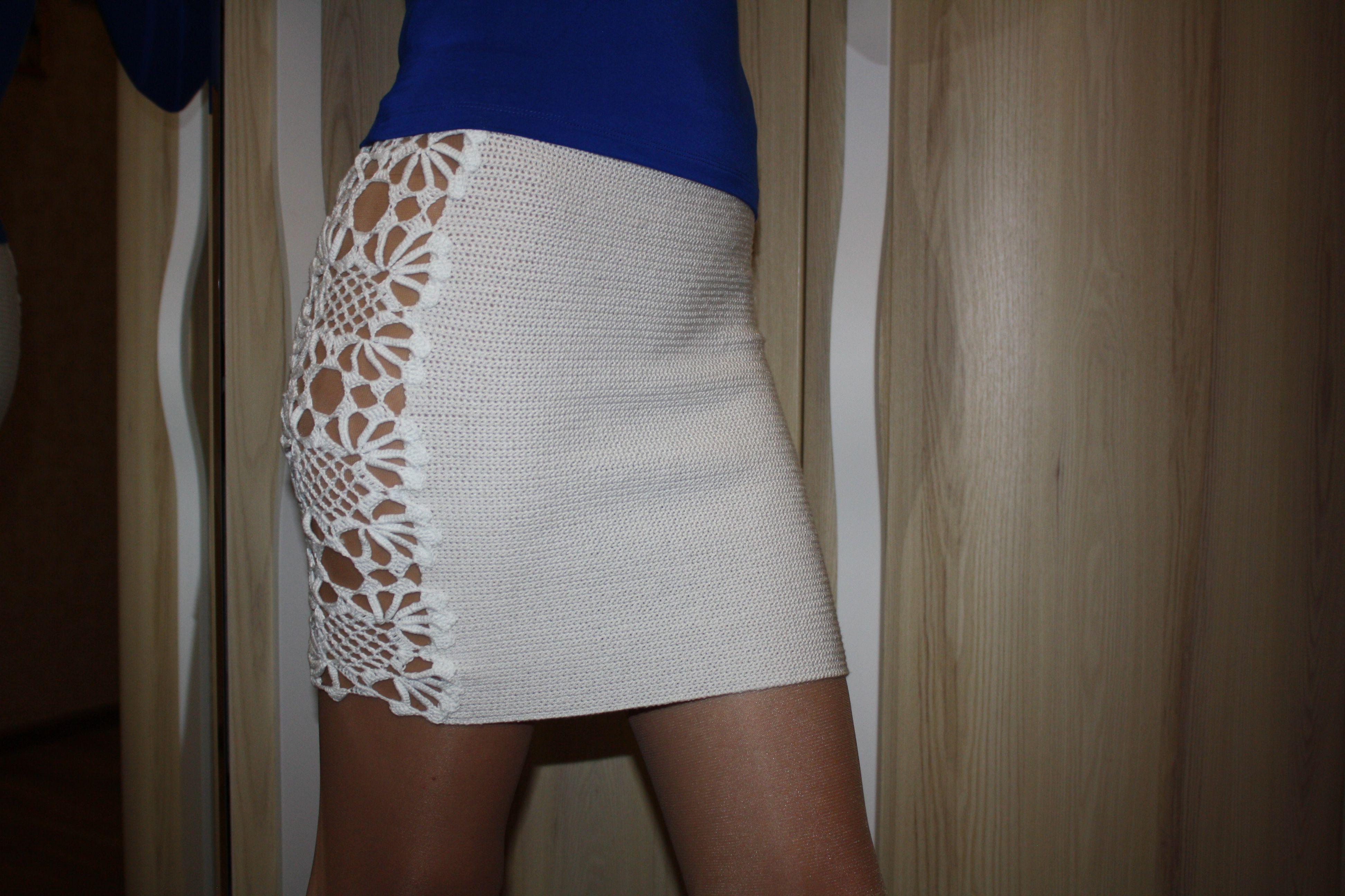 красивая вязаная секси юбка крючком стрейч