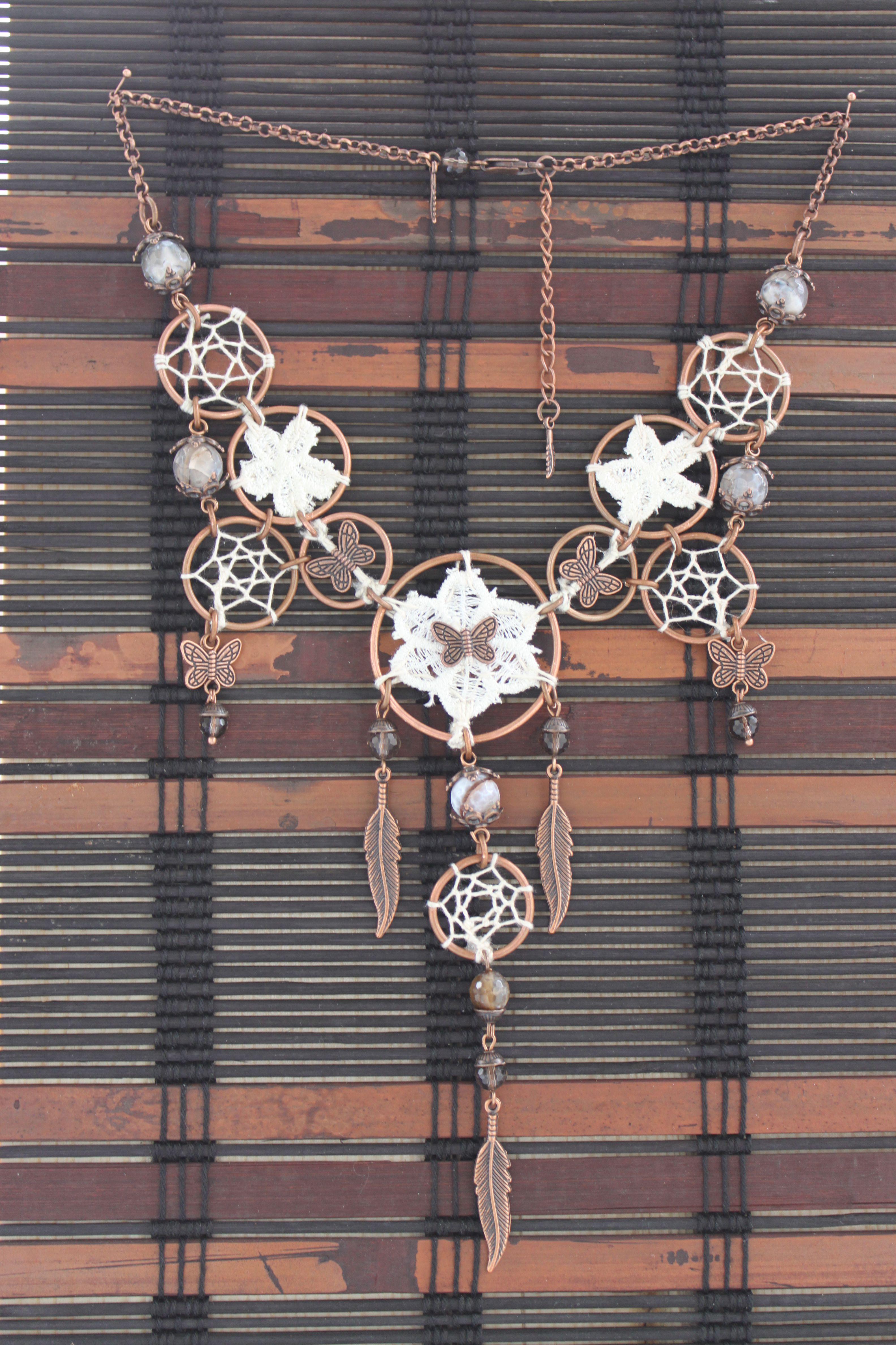 нежность медь красота handmade перья твойстиль кружево ловцы boho хлопок стиль украшение ручнаяработа бохо подарок
