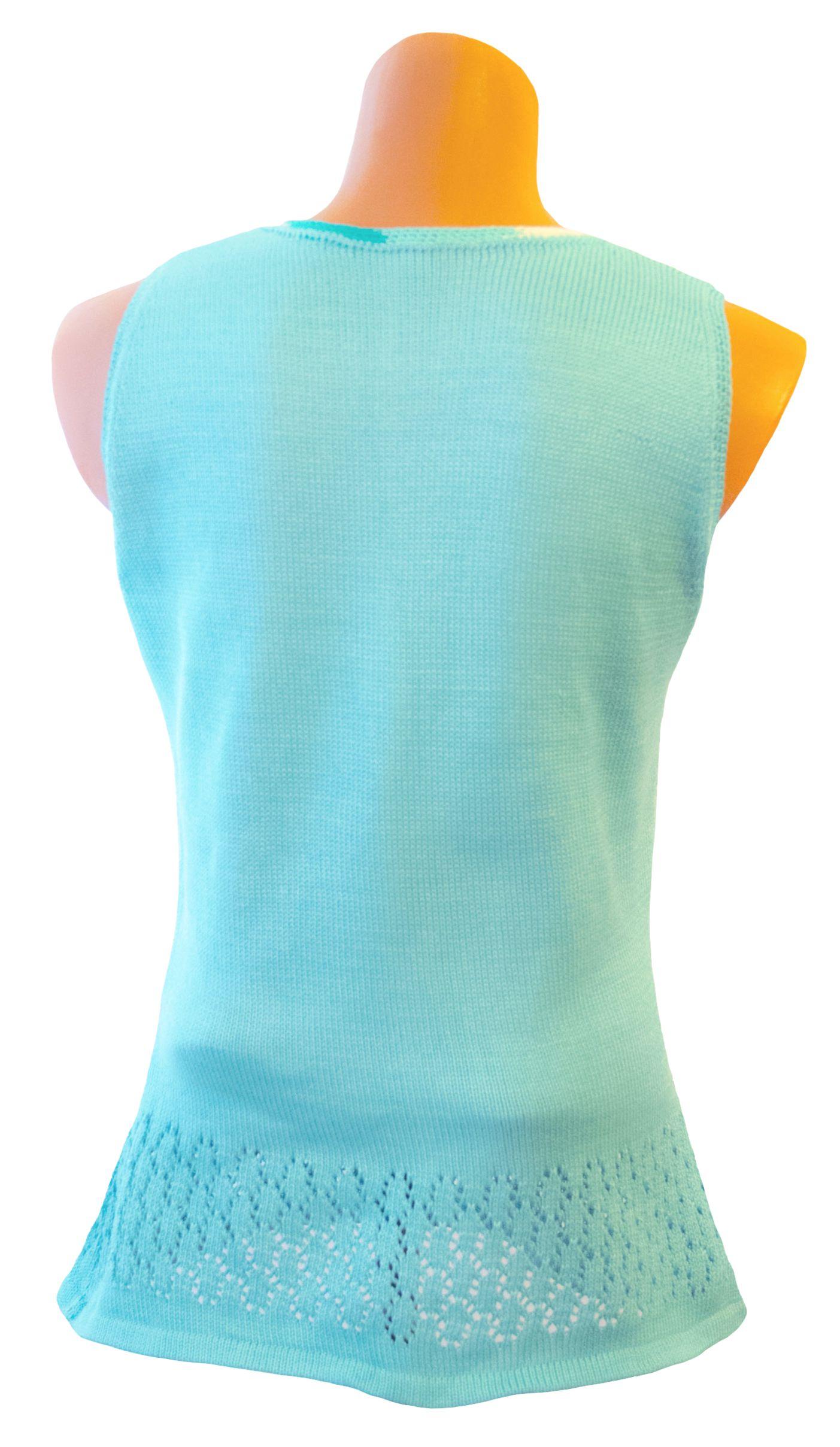 летняя ажурная из туника дизайн авторский вязаная хлопка бирюзовый однотонный