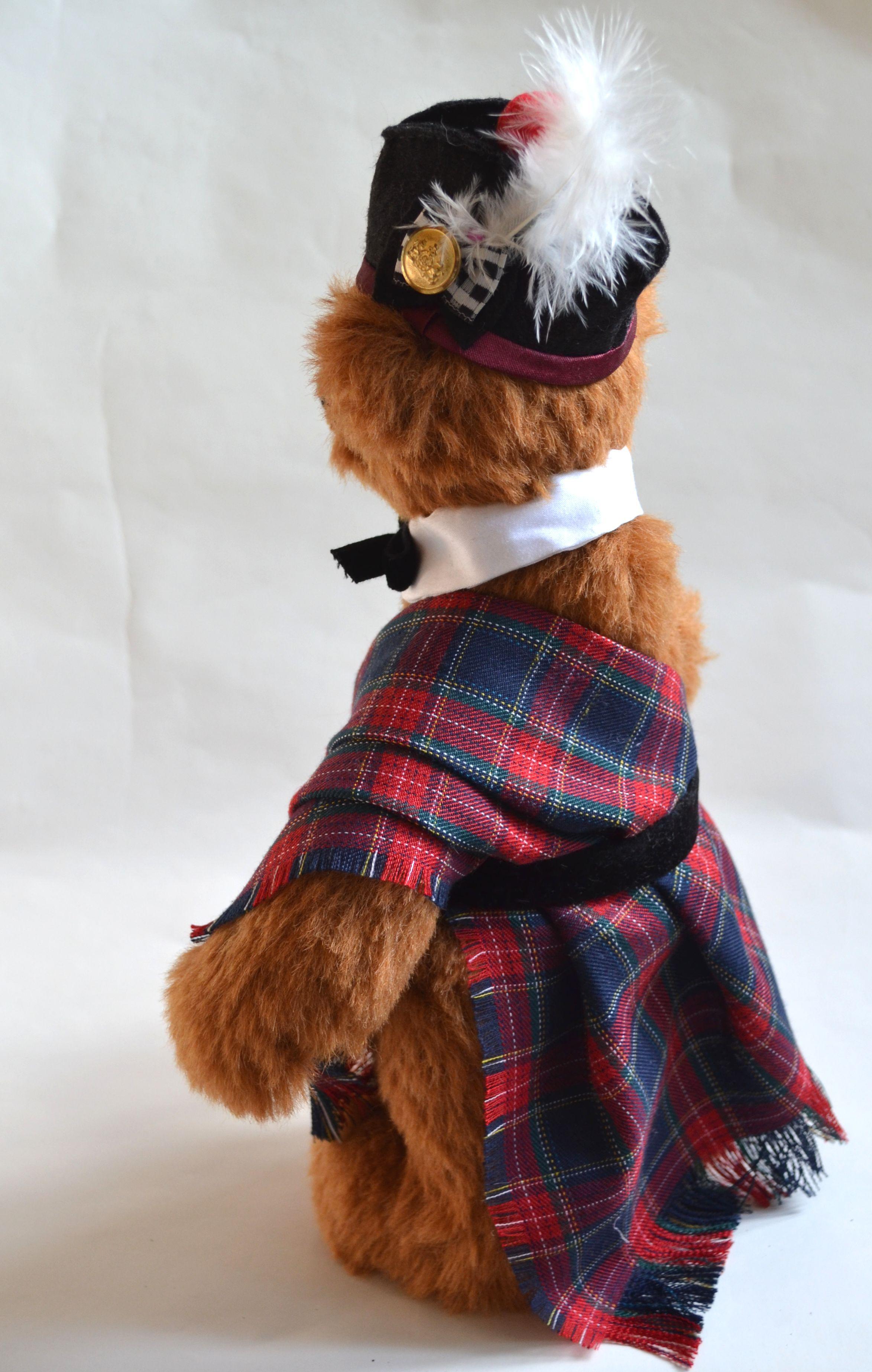 клетчатый медведь шотландия шотландец коллекционный классический мишка авторский альпака плюшевый медвежонок тедди игрушка классика шотландский