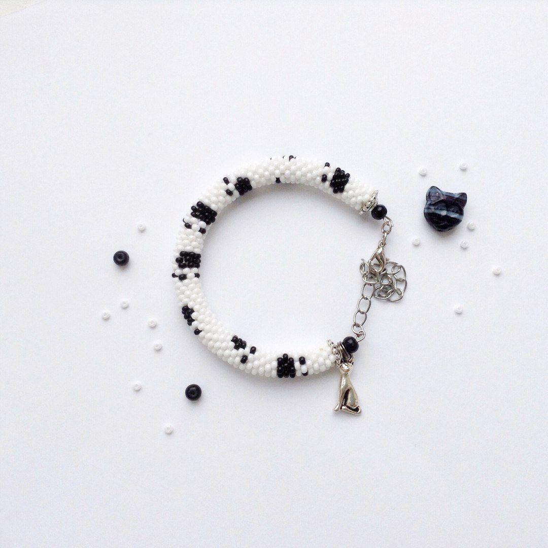 украшения бисер браслет handmade кошка бижутерия крючком