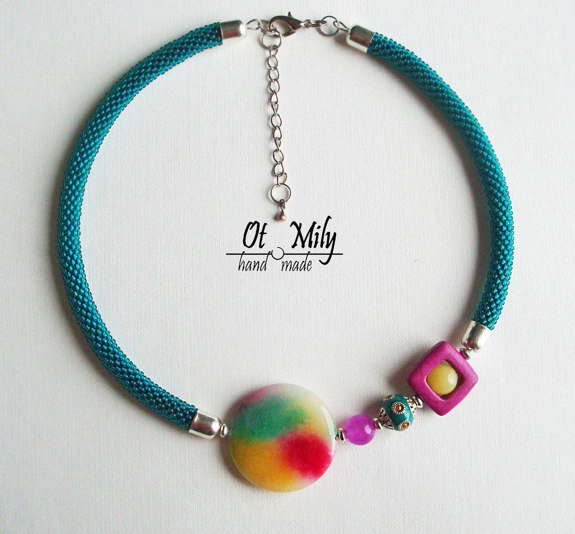 ожерелье авторская вязаные женщине бусы чокер шею колье дизайн камни девушке ошейник подарок натуральные