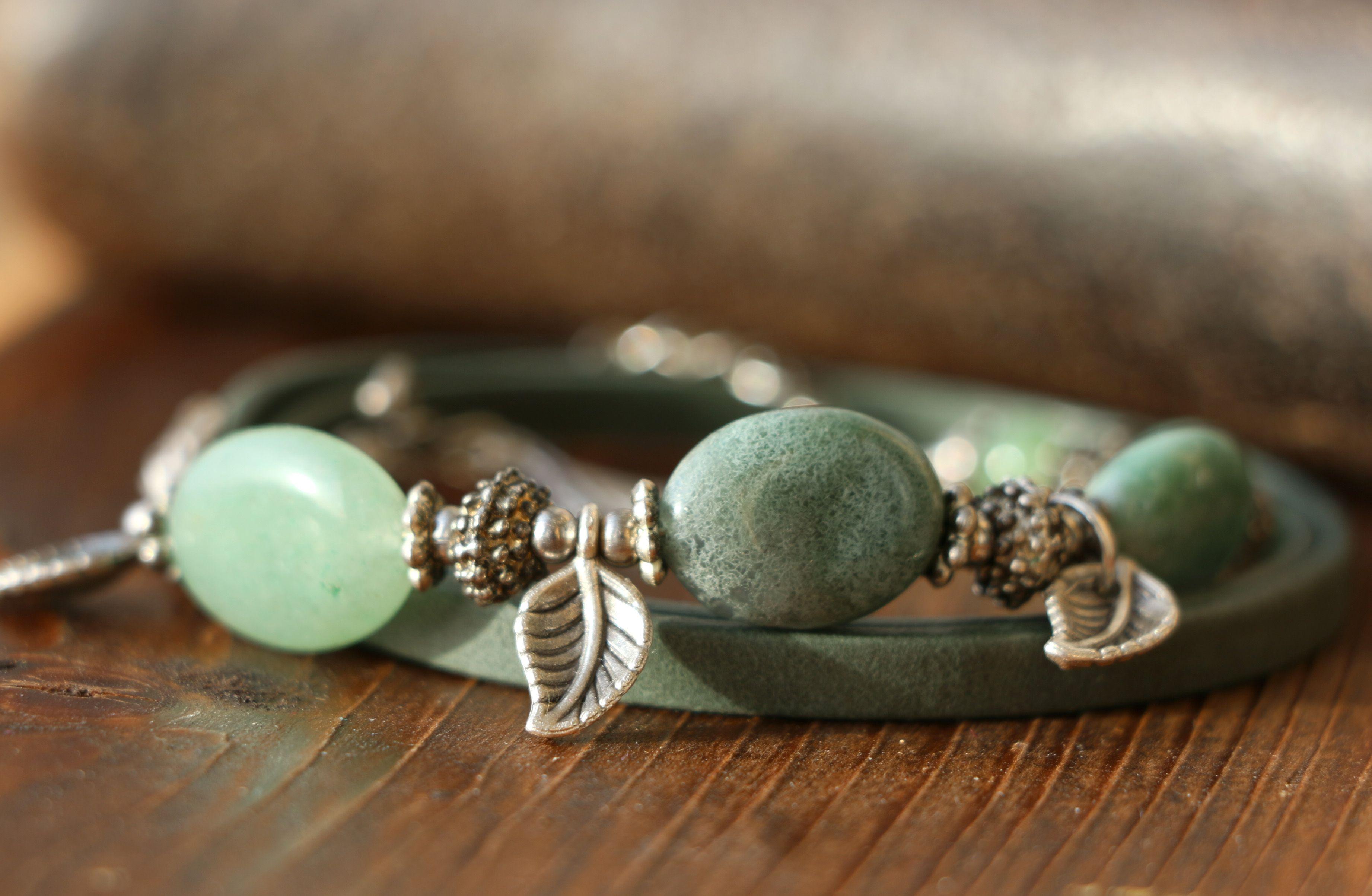 мятный зеленый браслет серо винтажный цвет серебристый стиль многорядный камни кожи камней натуральные