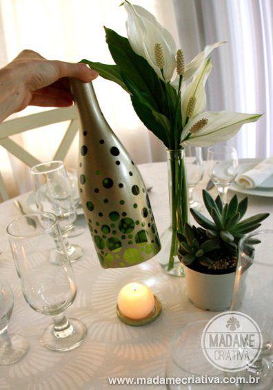 стеклянных бутылок декор из подсвечник руками своими