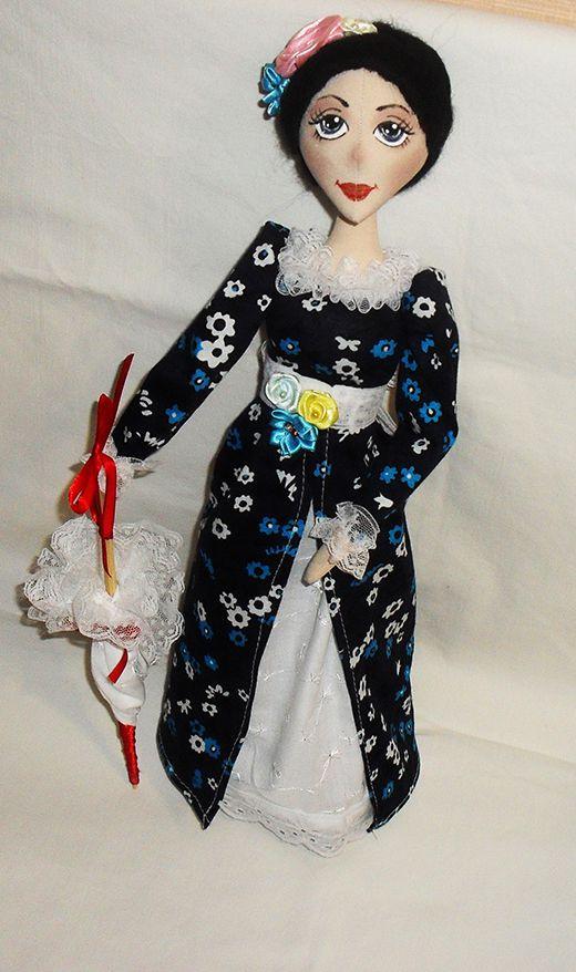 интерьерная кукла зонтик дамочка текстильная