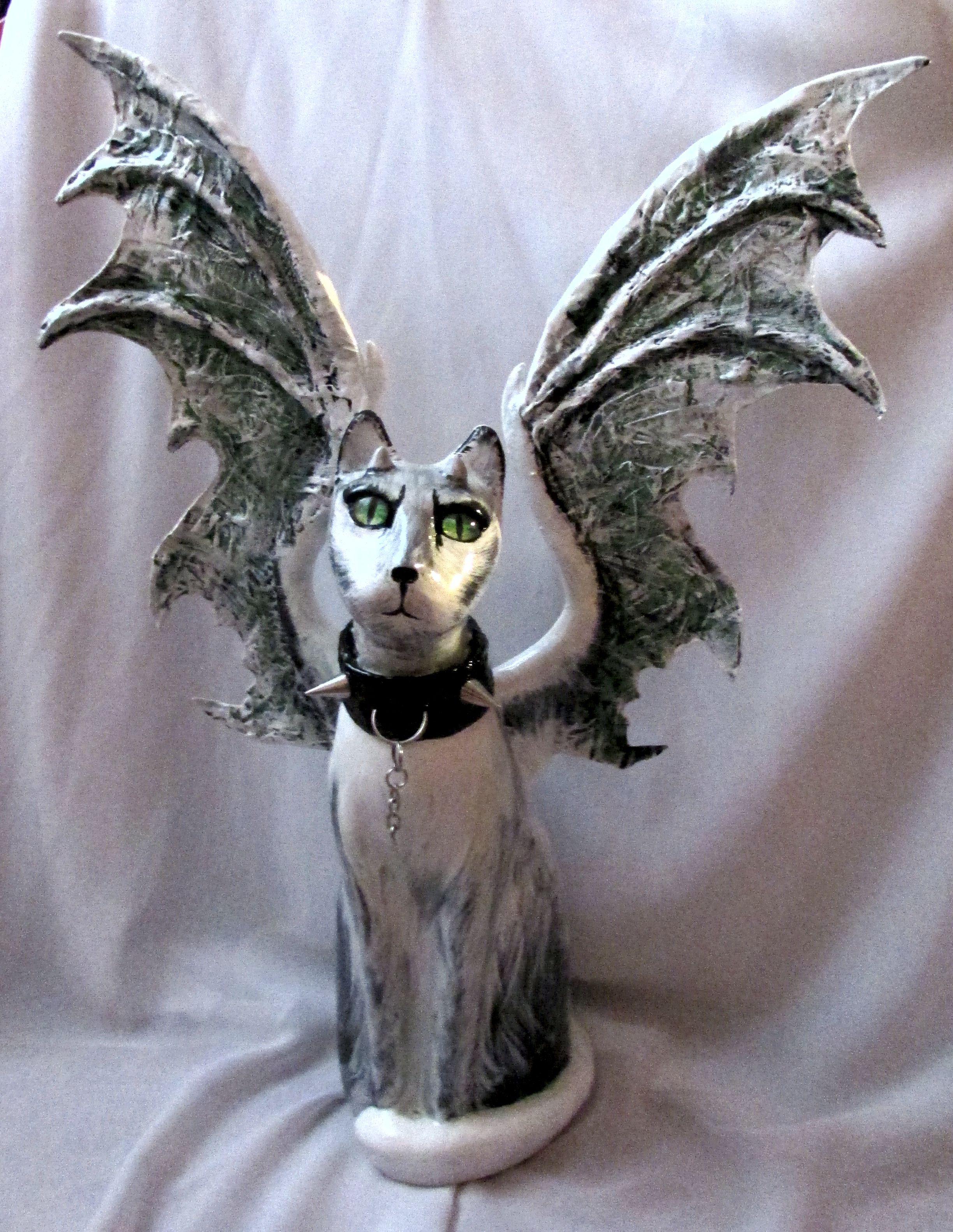купить декор статуэтка комбинированный с кошка крыльями статуэтку охотник демон кот дом