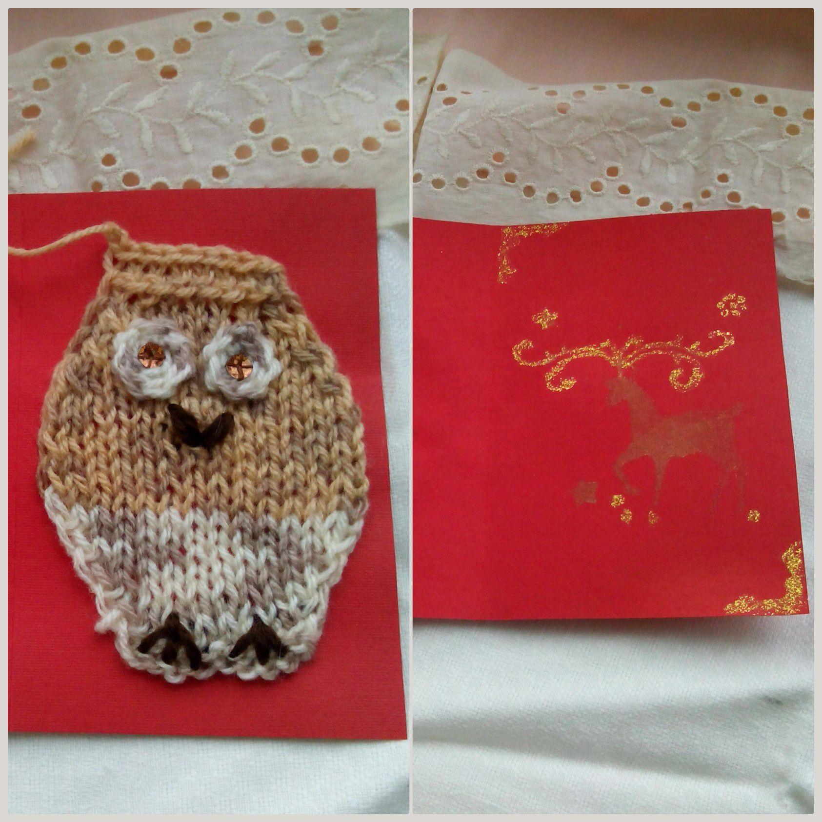 новый поздравительные совы ручная год новогодние вязаные открытки работа