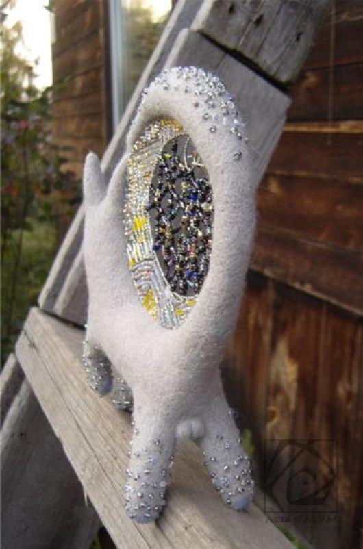 сухоеваляние бисер серый подарок кот сумеречный валяниеизшерсти