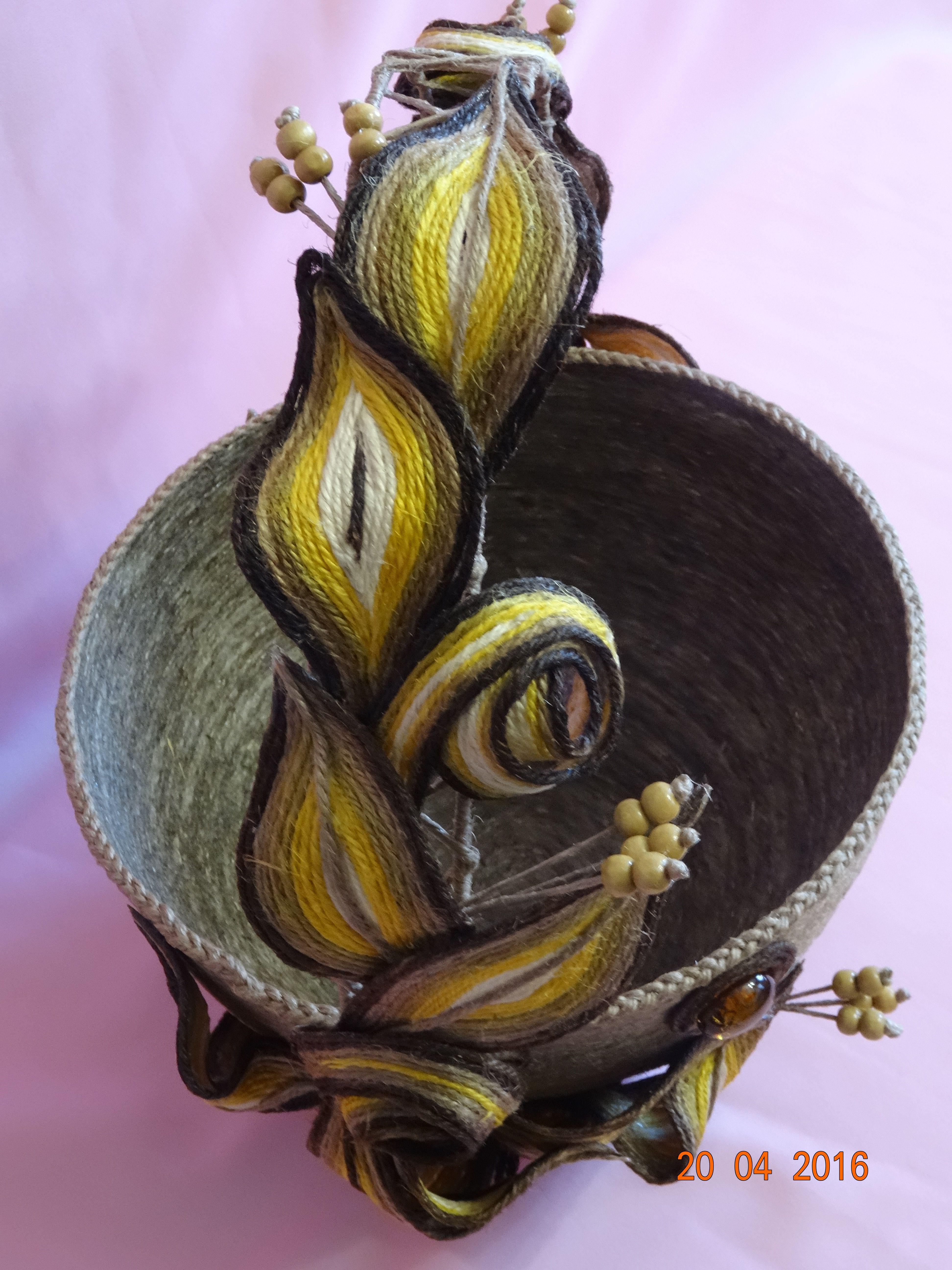 необычный подарок корзина ручная джутовый шпагат работа