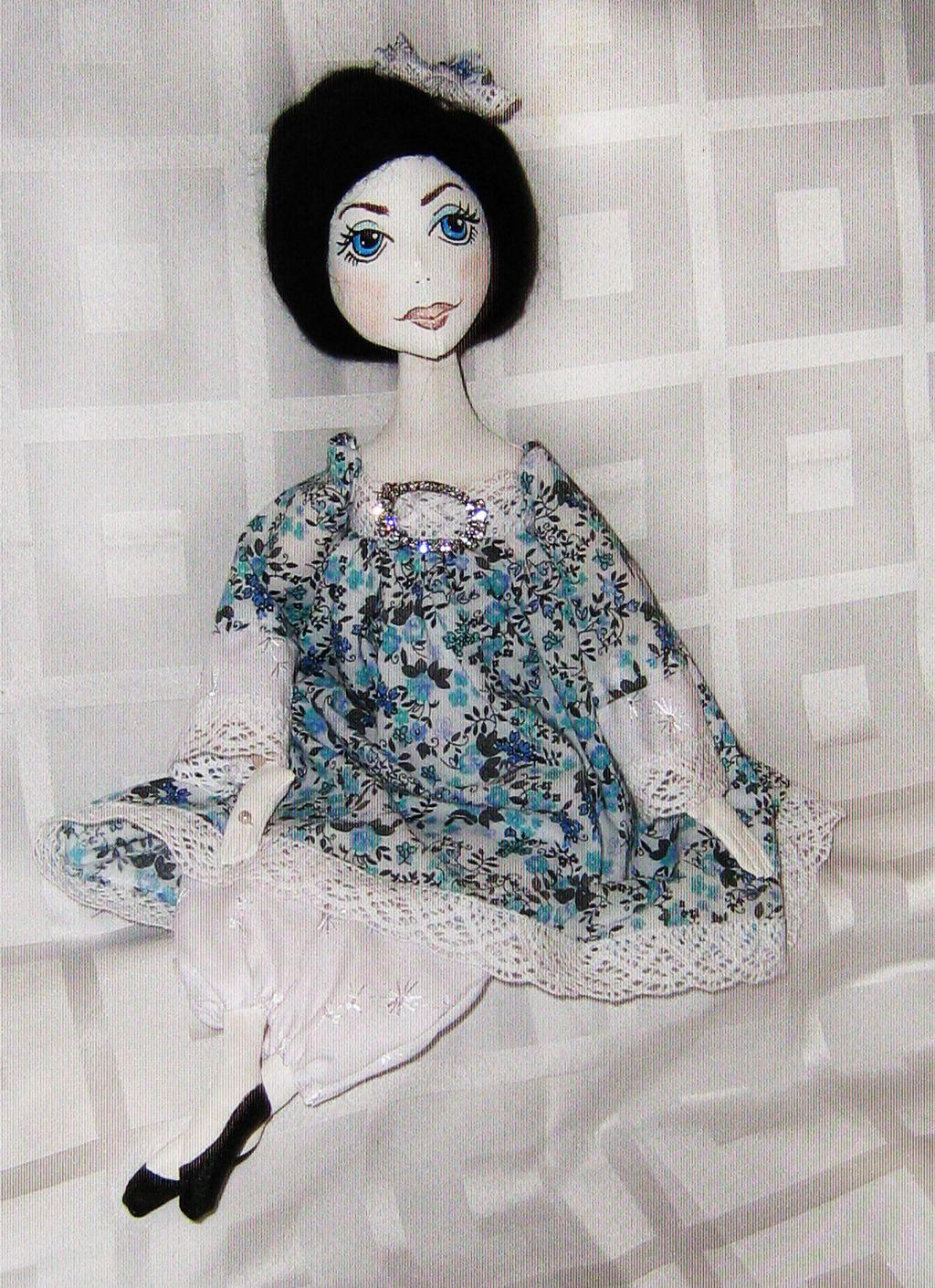 будуарная голубое белое кукла ручная кружево работа текстильная платье подарок
