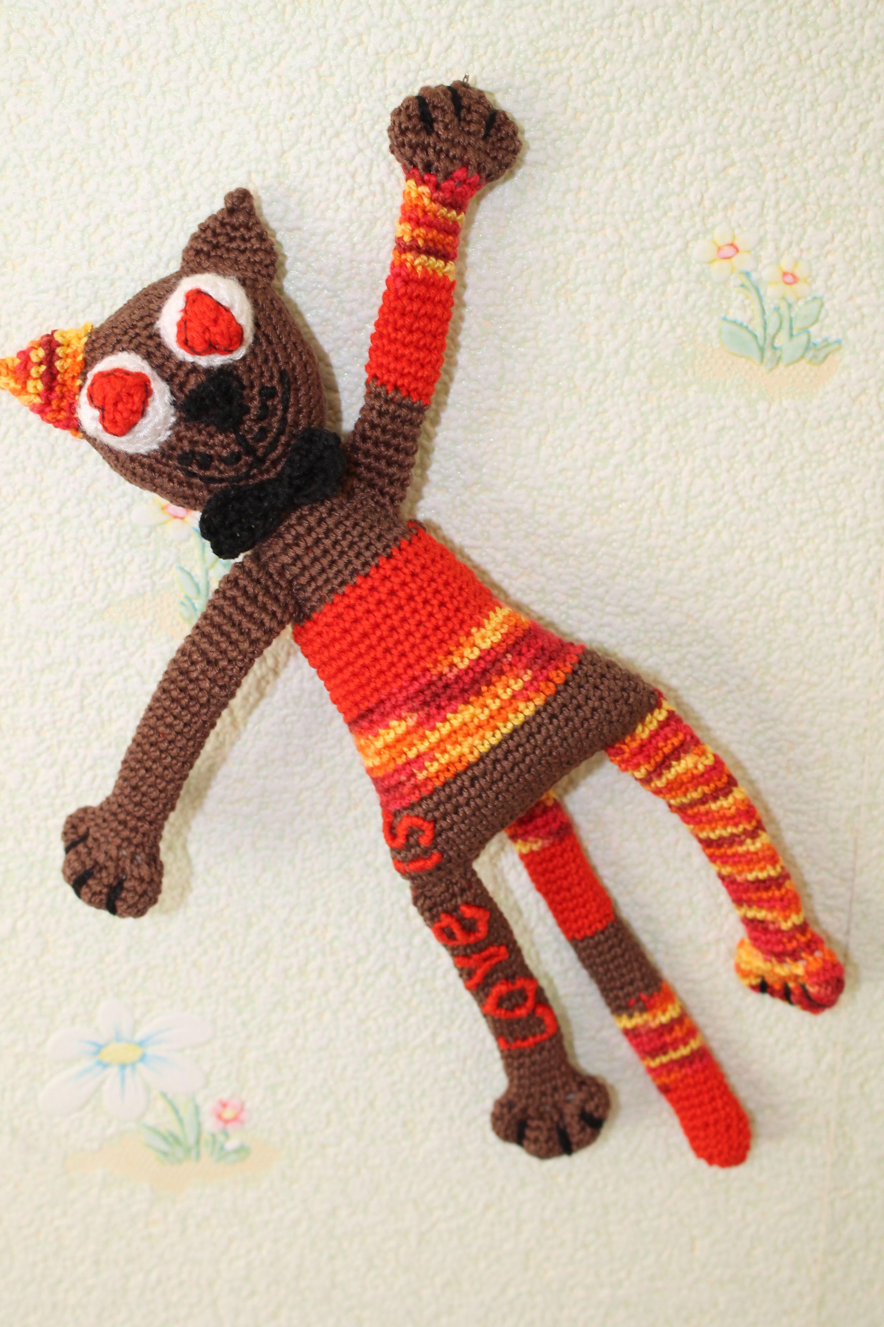 ручнаяработа котик котэ влюбленныйкотразвивающаяигрушка подаркикпраздникам подаркиручнойработы сувенир вязанаяигрушка кот