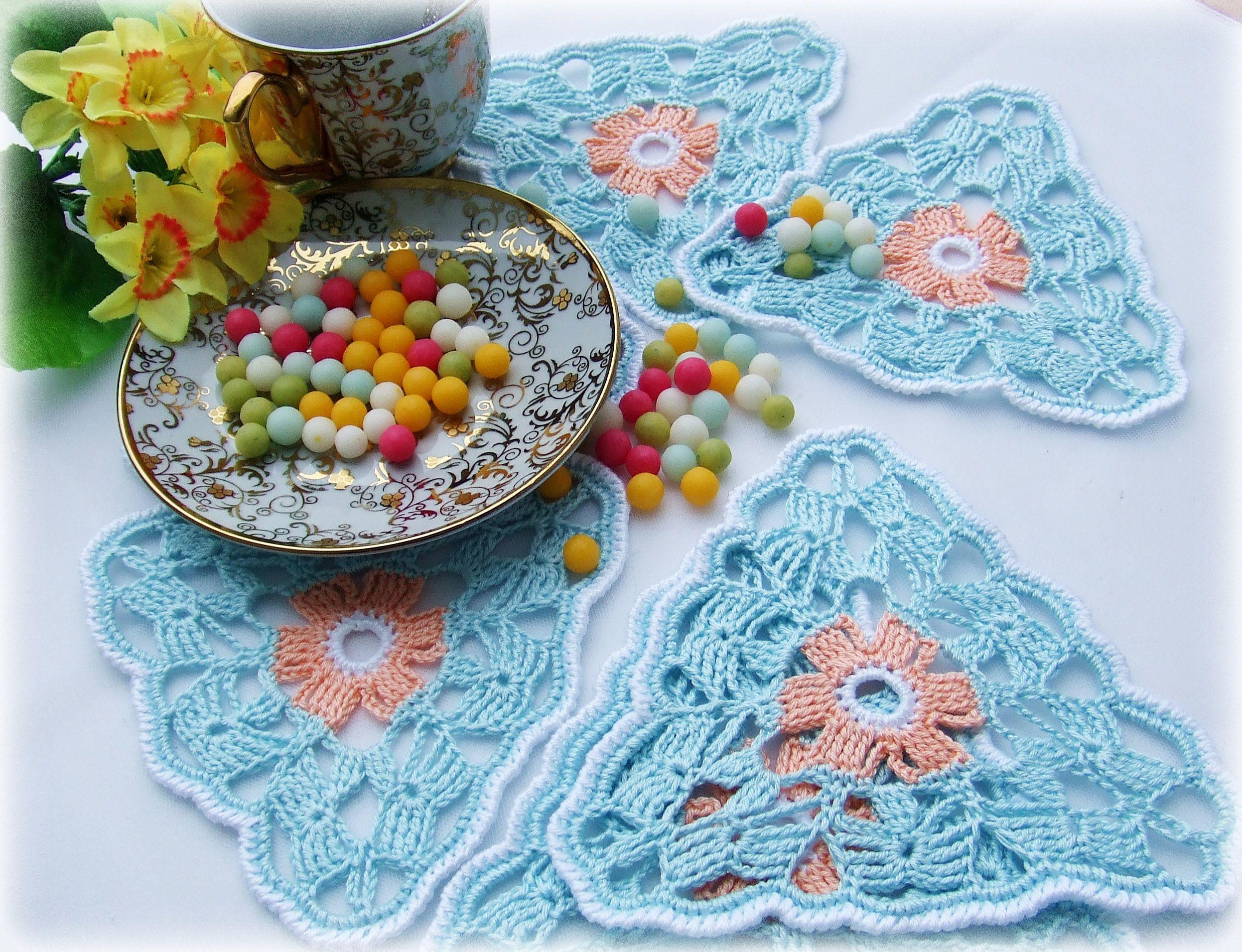 подставки под горячее украшение декор вязание крючком подарок весна