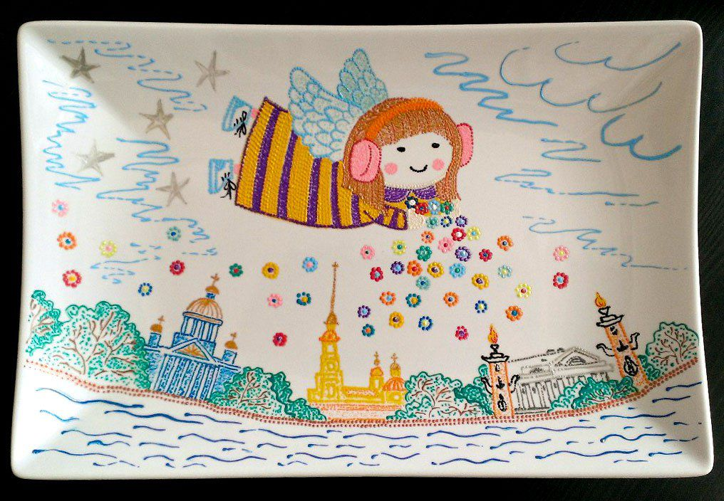 петербург ручнаяработа подарок декоративнаятарелка декор точечнаяроспись тарелка сувенир handmade питер белыеночи санктпетербург