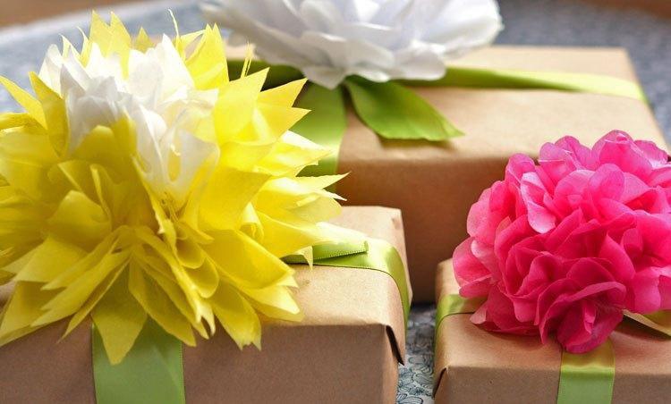 бумаги подарки декор из цветы
