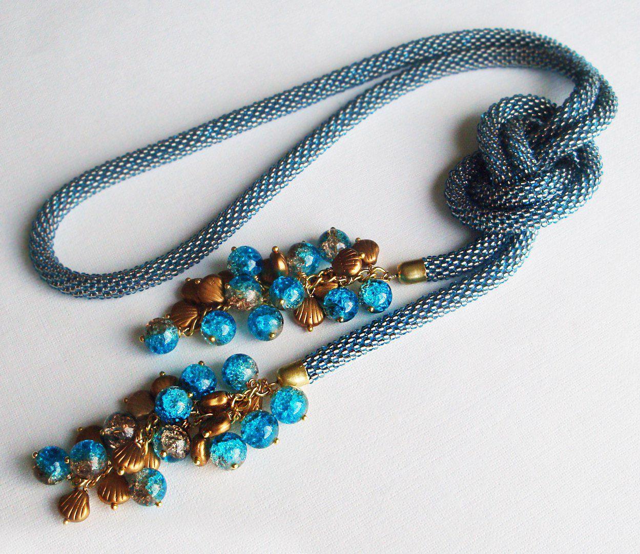 бисерный шнур вязаный бисер украшение шею лариат длинный трансформер