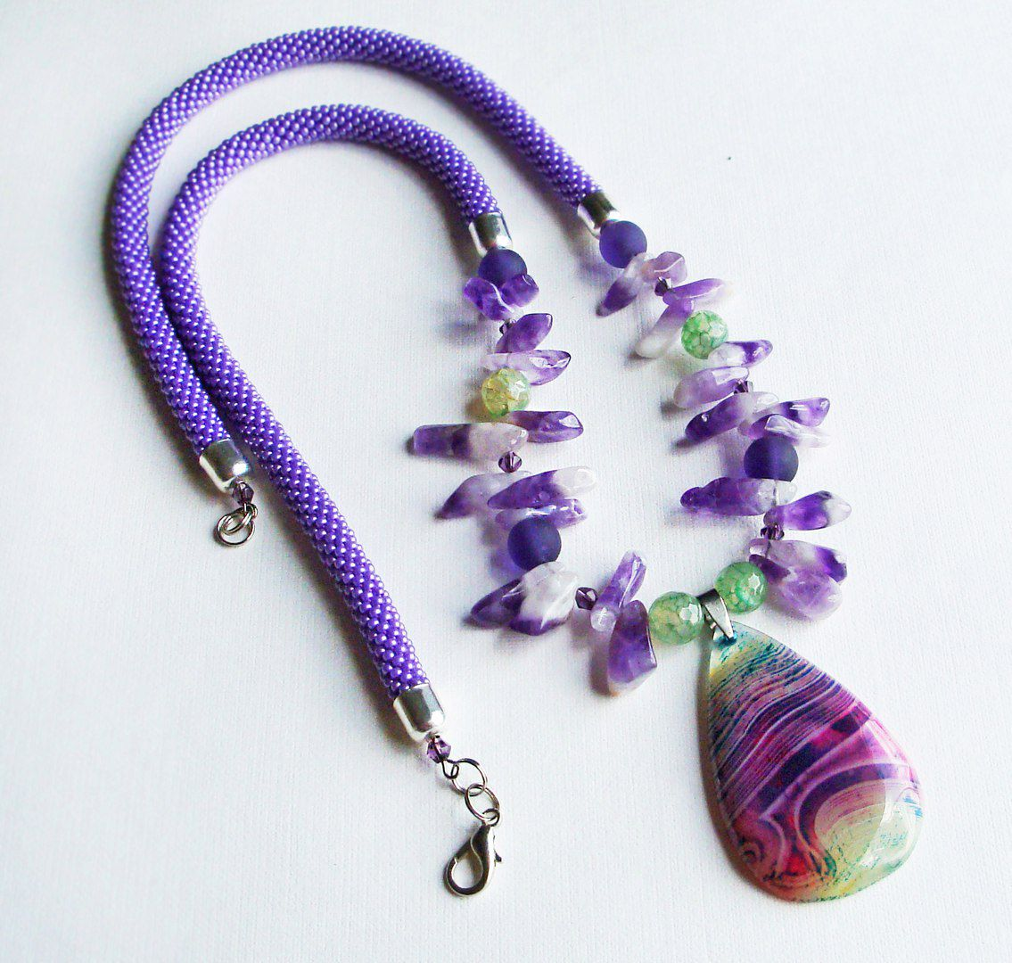 авторский ручная дизайн вязаные натуральные работа женщине колье агат ожерелье камни жгуты подвеской девушке аметист подарок