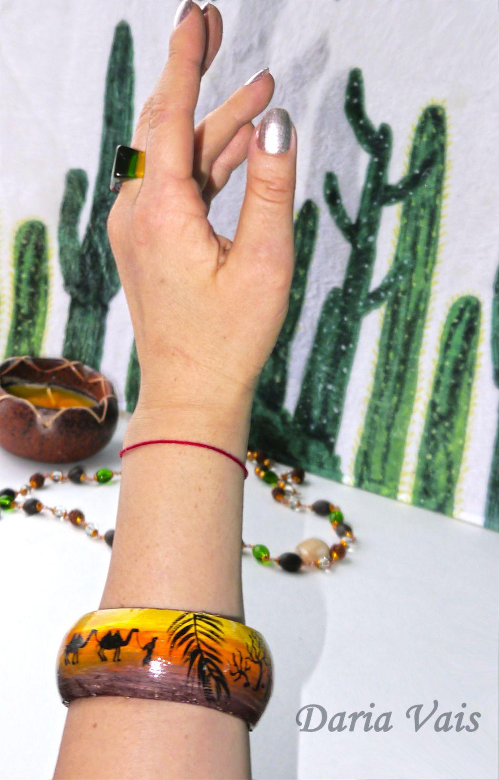 подарок браслет пустыня роспись африка дерево этно