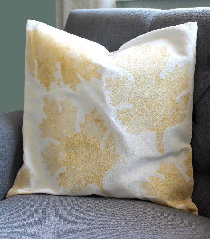 подушка блестяшки наволочка осень ткань