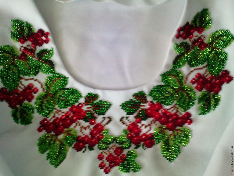 женская одежда вышивка рубашка ручная вышиванка сорочка женщине работа бисер девушке подарок