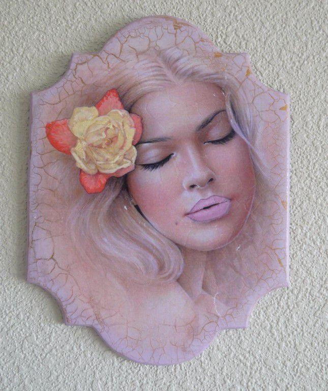 картина девушка панно цветок декупаж нежность