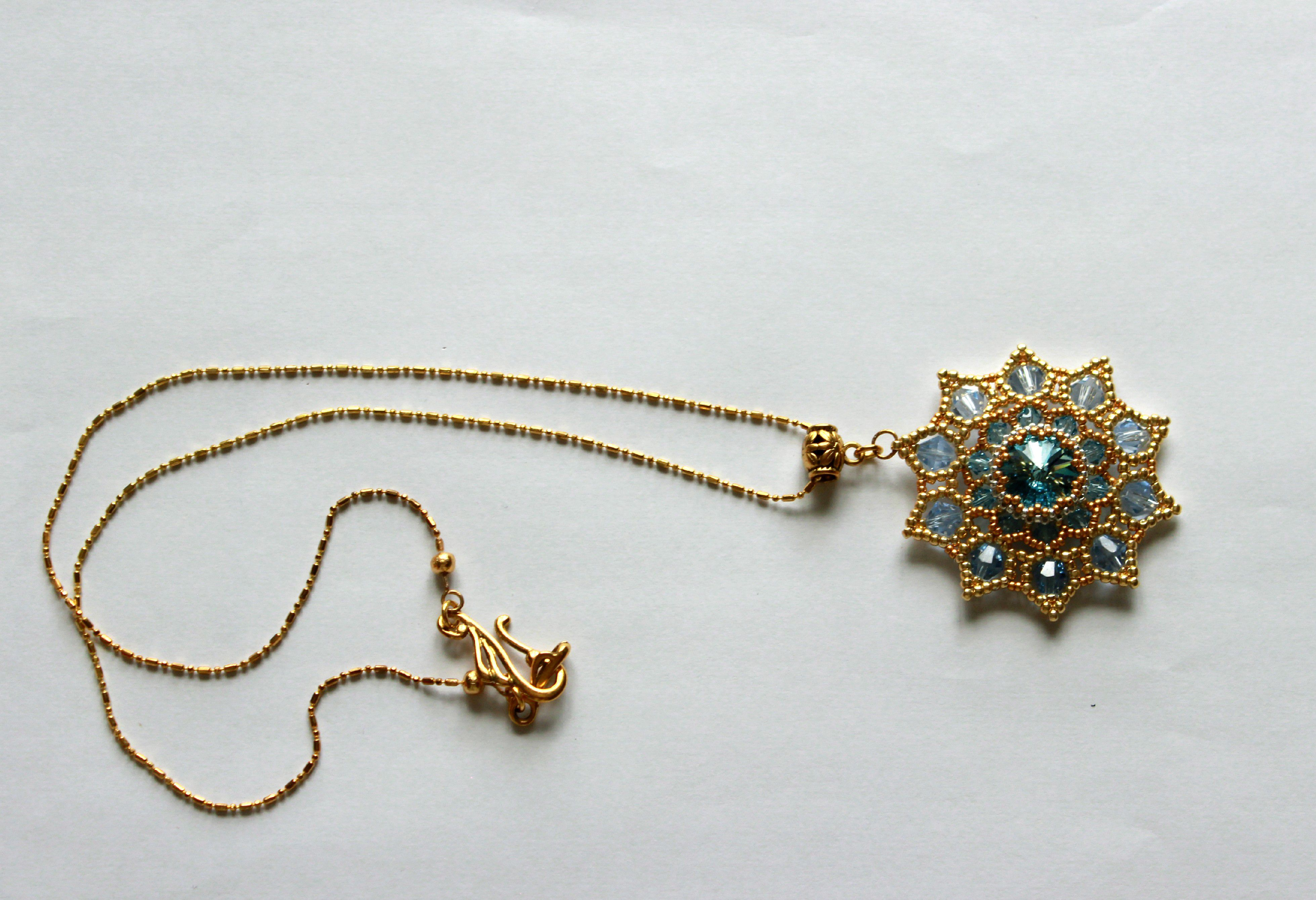 синий бисер кулон звезда сваровски золотой бусины голубой прозрачный кристалл украшения подвеска бижутерия