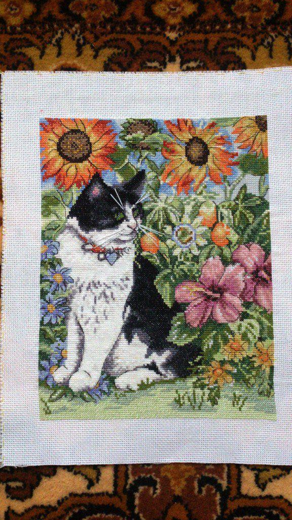 крестом вышивка картины кошки животные цветы